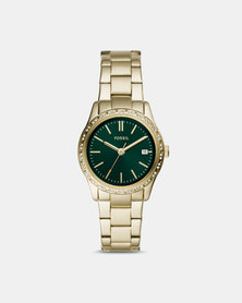 Fossil Adalyn Green Dial Watch Gold