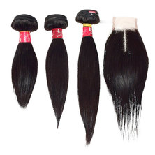 "Blkt 10""+12""+14"" inches Brazilian Weave and Free Closure Value Pack 4Pcs"