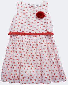 Starlight Kids Girls Strawberry Print Cotton Dress Cream