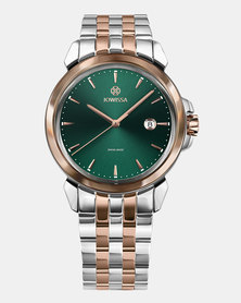 LeWy 3 Swiss Men's Watch - Silver Rose Gold and Green