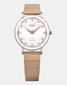 Jowissa Facet Swiss Ladies Watch Rose Gold and White