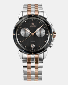 Jowissa LeWy 6 Swiss Chronograph Men's Watch - Siver Rose Gold and Black