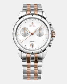 Jowissa LeWy 6 Swiss Chronograph Men's Watch - Silver Rose Gold and White