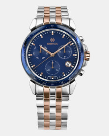 Jowissa LeWy 9 Swiss Chronograph Men's Watch - Silver Rose Gold and Blue