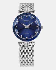 Facet Strass Swiss Ladies Watch Silver and Atlantic Blue