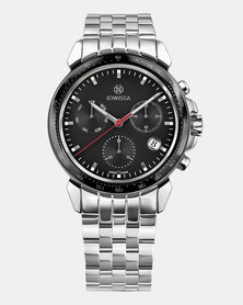 Jowissa LeWy 9 Swiss Chronograph Men's Watch Silver and Black
