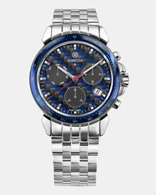 LeWy 18 Chronograph Swiss Chronograph Men's Watch Silver Blue and Black