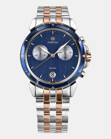 LeWy 6 Swiss Chronograph Men's Watch Silver Rose Gold and Blue