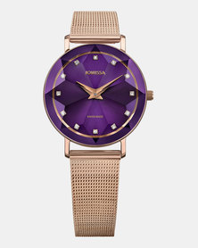Facet Swiss Ladies Watch Rose Gold and Purple