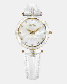 Facet Strass Swiss Ladies Watch White and Gold