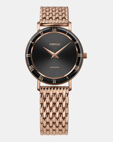 Jowissa Roma Swiss Ladies Watch Rose Gold and Black