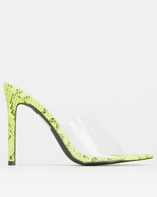 Sissy Boy Lucky Charm Snake With Clear Upper Mules Lime