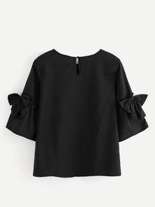 JAVING Bow Trim Bell Sleeve Top - black