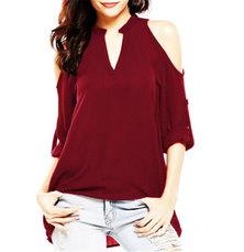 JAVING  Cold Shoulder Notch Neck Roll-up Sleeve Top - burgundy