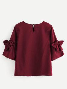 JAVING Bow Trim Bell Sleeve Top - burgundy