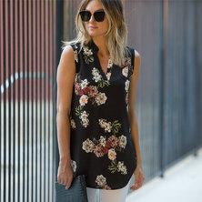 JAVING Floral Print Sleeveless Longline V-neck Shirt - navy-pink