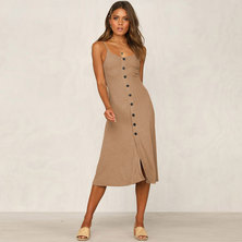 JAVING Fit and Flare Strappy Buttonthru Midi Dress -beige