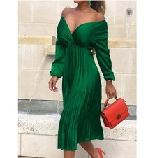 JAVING Wrap Front Top and Pleat Skirt Midi Dress - green