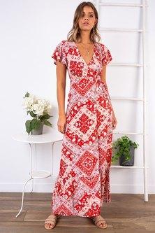 JAVING Tribal Print Frill Sleeve Wrap Maxi Dress - white-red