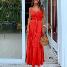 JAVING Strappy Button Front Tiered Maxi Dress - red