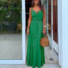 JAVING Strappy Button Front Tiered Maxi Dress - green