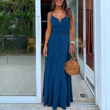 JAVING Strappy Button Front Tiered Maxi Dress - blue