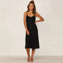 JAVING Fit and Flare Strappy Buttonthru Midi Dress - black