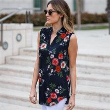 JAVING Floral Print Sleeveless Longline V-neck Shirt - black-red