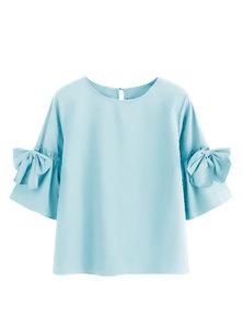 JAVING Bow Trim Bell Sleeve Top - pale blue