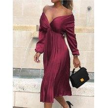 JAVING Wrap Front Top and Pleat Skirt Midi Dress - plum