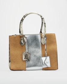 Steve Madden Taryn Snake Print Natural Tote Bag Neutrals