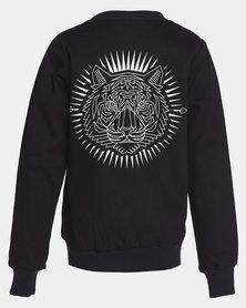 Phoenix & the Llama Tiger Tattoo Bomber Jacket Black