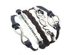 Urban Charm Peace & love, Infinity Charms Bracelet Charcoal Grey