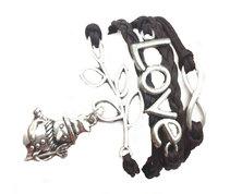 Urban Charm Festive Snowman Infinity Charms Bracelet - Dark Brown