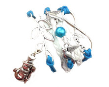 Urban Charm Festive Snowman Infinity Charms Bracelet - Blue & White