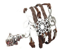 Urban Charm Festive Season Infinity Charms Bracelet with Snowman - Brown