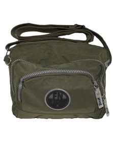 Fino Lightweight Waterproof Washed Nylon Crossbody Bag-Green