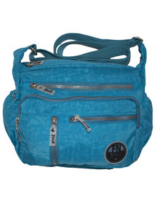 Fino Washed Nylon Multi-Pocket Messenger Bag-Blue