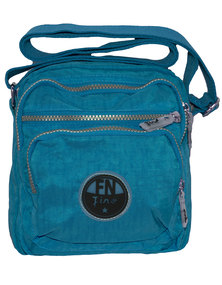 Fino Washed Nylon Lightweight Waterproof Shoulder Bag-Blue