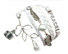Urban Charm Peace Infinity Charms Bracelet with Scripture book - White