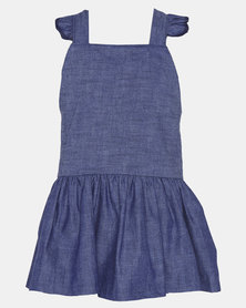 Phoenix & the Llama Rockabilly Frilly Dress Navy Blue