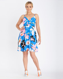 Contempo Floral Fit And Flare Dress Blue