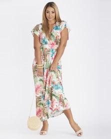 Contempo Multi Palm Printed Maxi Dress Ivory