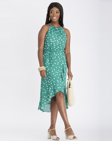 Contempo Halter Dress With Wrap Frill Green
