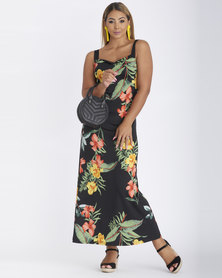 Contempo Multi Printed Maxi Dress With Contrast Black