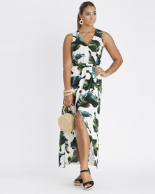Contempo Multi Printed Wrap Dress Ivory