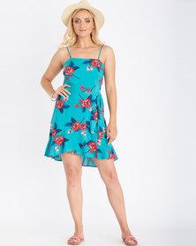 Contempo Floral Square Neck Dress Aqua