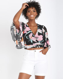 Contempo  Pleated Kimono Sleeve Wrap Top Black