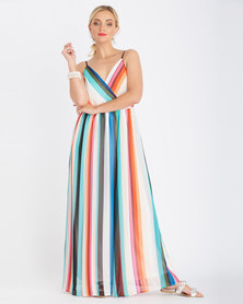 Contempo Striped Lace Up Maxi Dress Multi