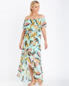Contempo Top Ruffle Off Shoulder Dress Aqua